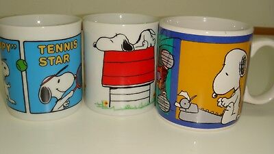 Vintage Peanuts Snoopy Mugs set/3 Tennis Star/Typing/Snoopy w/Linus' Blanket