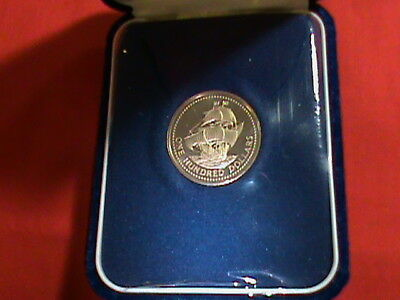 1975 BARBADOS $100 SOLID GOLD PROOF COIN w/ OG CASE & ENGLISH SHIP-KM 18-.500