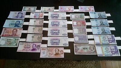 28 Higher End World Mix, Some Duplicate Foreign Banknotes Currency Lot, Gems