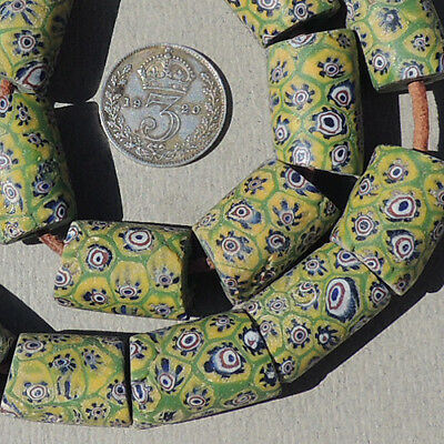 19 old antique venetian millefiori african trade beads #3965
