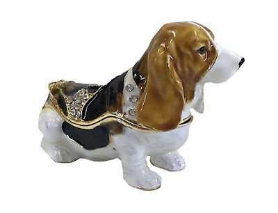 Basset Hound Jewelled Dog Trinket Box or Figurine Tri-Colour Approx 4.5cm High