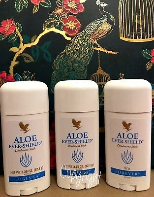 3 x Forever Aloe Ever Shield Deodorant Stick **BRAND NEW & SEALED** Free P&P