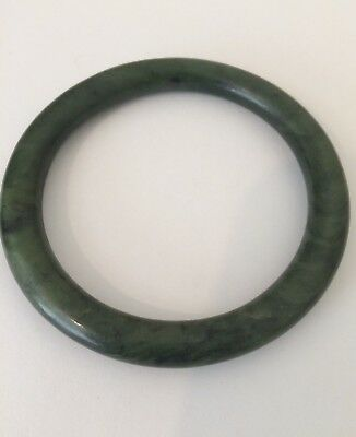 Antique Chinese Hand Carved Spinach Jade Bangle Bracelet From Estate