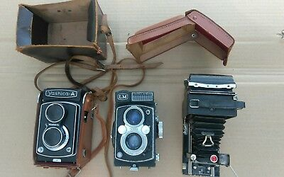 A lot 3 vintage cameras for parts or Repair