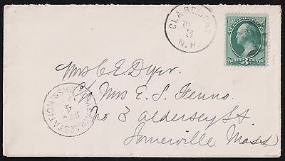 USA 1884 Claremont NH To Somerville Massachusetts Cover. VF