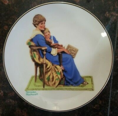 Vintage 1984 Bedtime, by Norman Rockwell, Porcelain Collector's Plate
