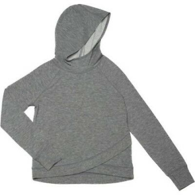 Danskin Now Girls French Terry Criss Cross Hem Hoodie Size Medium 7-8 Gray