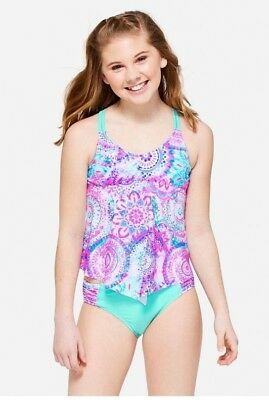NWT JUSTICE Girls 7 10 12 Mint Ice Mandala Tankini Swimsuit