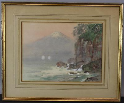 Antique Japanese Watercolor Painting of Mt. Fuji by Ginnosuke Yakouchi, NR
