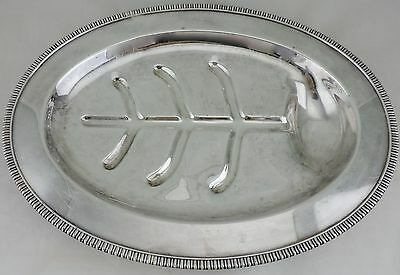 Antique Silver Plated Footed Meat Serving Tray W/ Juice Well/tree Metalware