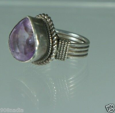 Vintage Sterling 925 Silver,tear Drop Amethyst Ring Size 6