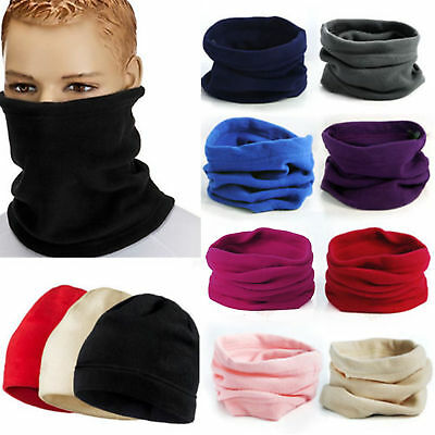 Womens Mens Thermal Fleece Beanie Hat Snood Scarf Neck Warmer Ski Wear