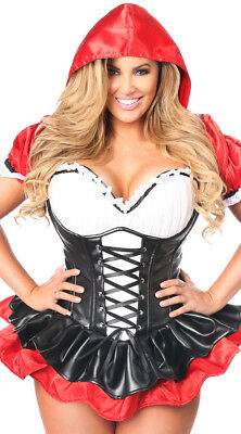 6X Womens Plus Size Deluxe Red Riding Hood Corset Costume, Plus Size Sexy Red