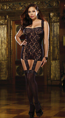 Queen Size Womens Plus Size Mesh And Lace Gartered Dress With Stockings, Plus