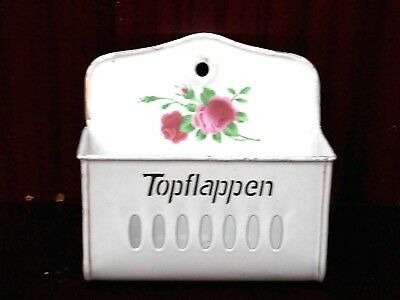 nochmal altes Emaile Wandbehälter TOPFLAPPEN mit Rosenmuster