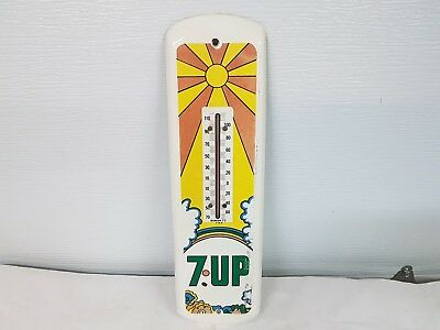 Vtg, 1972 Psychedelic Hippie 7UP sunray rainbow metal usa thermometer Sign