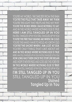 TANGLED UP IN YOU - STAINED Lyrics  Wall Art Print Poster A4