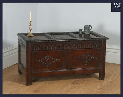 Antique English Charles II West Country Gloucestershire Oak Joined Coffer Chest