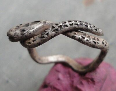 Ancient Roman Silver ring Snake Senatorial fine artifact Museum quality HUGE