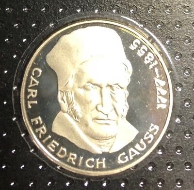 BRD 5 Mark Gedenkmünze 1977  Polierte Platte - Carl Friedrich Gauss