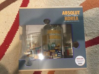 NEW Absolut Vodka Korea 750ml Special Gift Set with 2 Glasses and 1 Korea Bottle