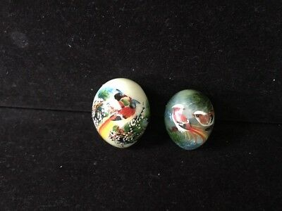 Pair Of Vintage Small Chinese Hand painted Signed jade egg-shaped stone