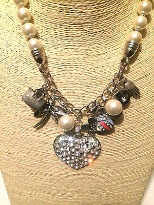 Statement Beaded Faux Pearl Crystal Diamante Rhinestone Charm Chain Necklace