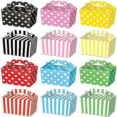 Party Boxes - Polka or Stripe Food Loot Treat Box - 12 Designs - Choose Quantity
