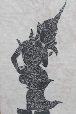 Vintage Thai temple rubbing of a dancer on rice paper