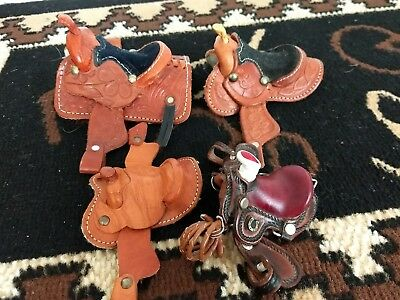MINIATURE  Leather saddle lot 4 pre-owned Western tooled assorted sizes