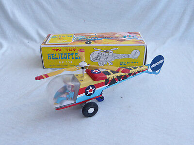 Red China MF 334 Helicopter Blech Spielzeug Vintage Tin Toy 80er Jahre in Box