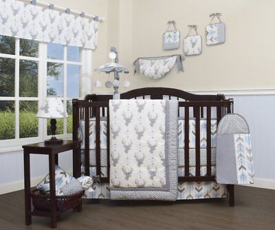 Gray Blue Deer Arrows 13pc Crib Bedding Set Baby Boy Nursery Quilt Bumper Diaper
