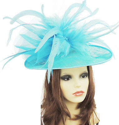 Turquoise Fascinator Hat For Weddings/Ascot Headband B10