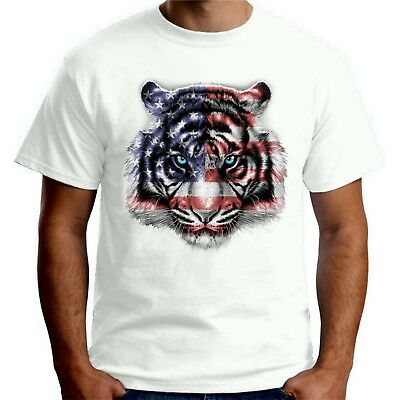 Velocitee Mens T-Shirt Majestic American White Tiger Face A21679