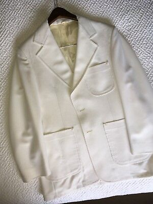 VINTAGE Mens White Polyester Suit SIZE 40/41 Very Good VINTAGE CONDITION