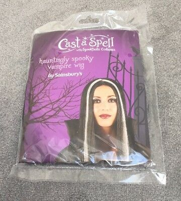 Long Morticia Witch Vampire Wig Ladies Black - Fancy Dress - Brand New