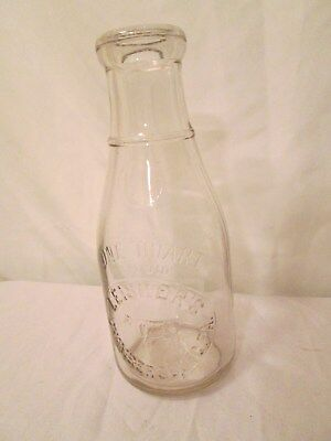 Vintage Glass Milk Bottle 1 Quart Leisher's Chambersburg Pa