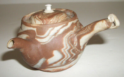 Japanese Vintage Banko Marbleized Swirl Pottery Brown White Teapot - Used