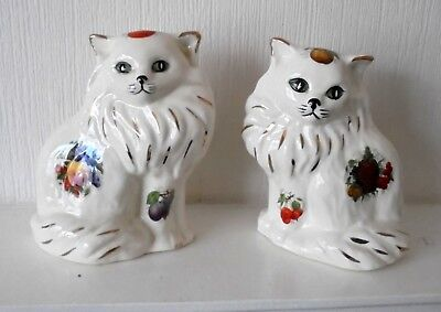 Pair of Vintage White Persian Mantle Fruit Cats