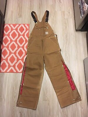Carhartt Arctic Quilt Lined Duck Bib Overall Size 36X32