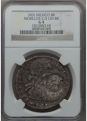 1810 Morelos and Chilpanzingo Counterstamped 8 Reales - KM285.2 on a KM110 Host
