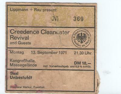 Creedence Clearwater Revival 1971 Ticket 13.09.1971 Frankfurt Kongreßhalle Rare