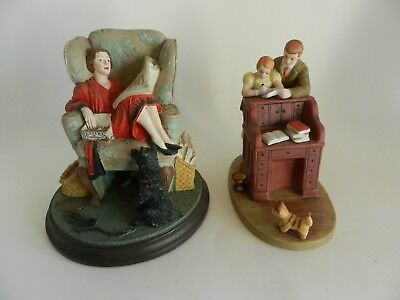 Lot of 2 Norman Rockwell's Figurines Sitting Pretty / The Marriage License As Is