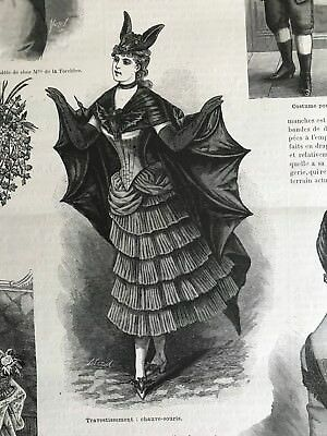 MODE ILLUSTREE SEWING PATTERN Jan 9,1887 -  HALLOWEEN COSTUME BAT , HOUSECOAT