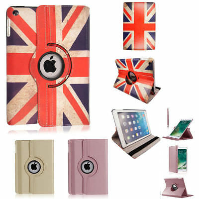 Union Flag Rose/Gold Rotating Case Cover fit for iPad 234 Mini Air 1/2 All Model