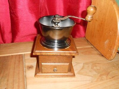Vintage Mahogany and Forged Metal Coffee Grinder Mill