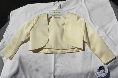 NWT Sarah Louise Girl's Elegant Yellow LS Satin Bolero Jacket, Sizes 18m, 3 & 4