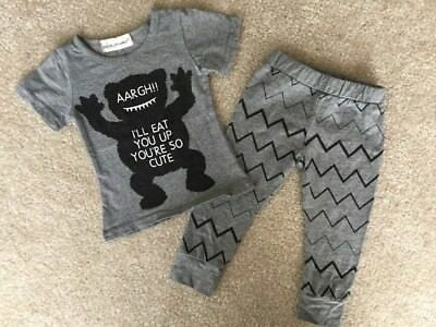 Big Elephant 3-6 Months Baby Girl or Boy Gray Pants & Tee Outfit Gender Neutral