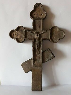 Vintage Antique Large Russian old Bronze Cross Or Crucifix Orthodox