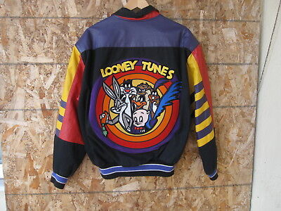 Vtg Jeff Hamilton Looney Tunes Bugs Bunny Sz L Leather/Cotton Jacket Made in USA
